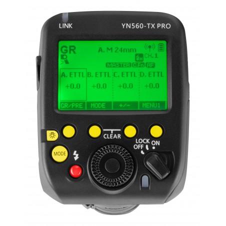Kontroler radiowy Yongnuo YN560-TX Pro do Canon panel sterowania LCD włączony