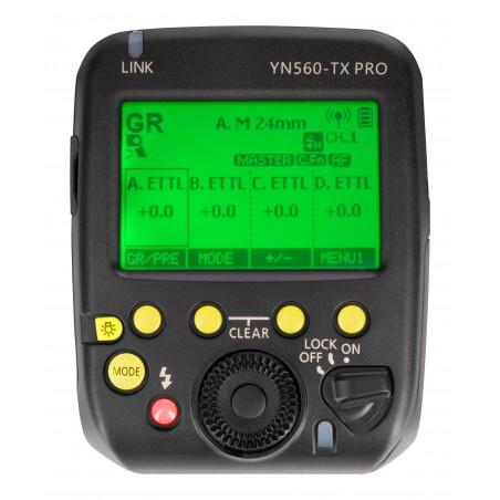 Kontroler radiowy Yongnuo YN560-TX Pro do Nikon panel sterowania LCD włączony