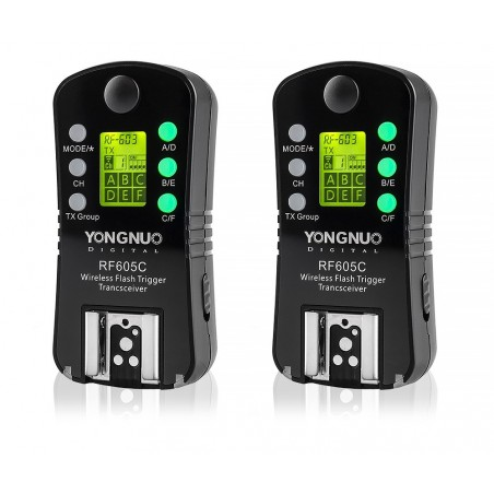Zestaw dwóch wyzwalaczy radiowych Yongnuo RF605C do Canon wyświetlacz LCD sterowanie