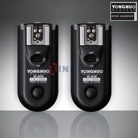 Zestaw dwóch wyzwalaczy radiowych Yongnuo RF603C II z kablem C1 do Canon tło