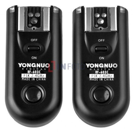 Zestaw dwóch wyzwalaczy radiowych Yongnuo RF603C II z kablem C1 do Canon  podwójny