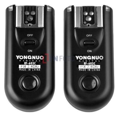 Zestaw dwóch wyzwalaczy radiowych Yongnuo RF603N II z kablem N1 do Nikon podwójny