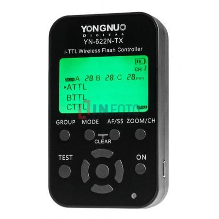 Kontroler wyzwalaczy radiowych Yongnuo YN622N-TX do Nikon panel sterowania LCD włączony